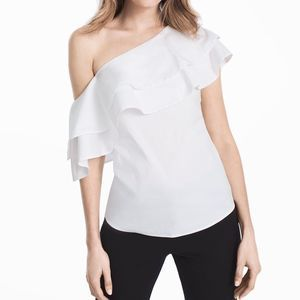 WHBM Ruffled One Shoulder Poplin Top-White Cotton